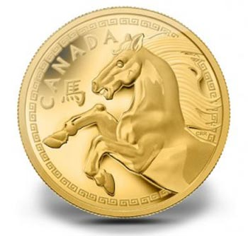 New gold coin featuring horse weighs one kilogram