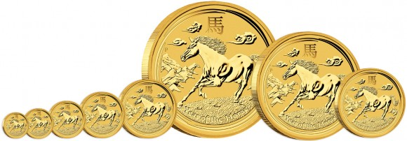 Perth Mint 2014 Year of the Horse Gold and Silver Bullion Coins