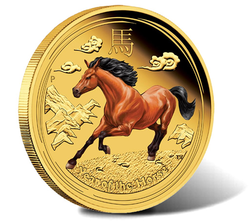 2014 Year of the Horse Coins in Colored, Gilded and Gemstone Editions