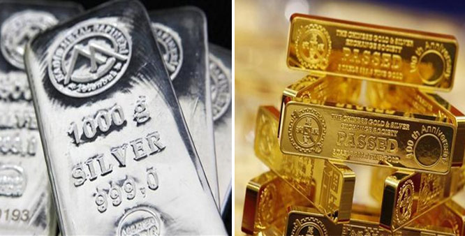 Gold, silver fall on stockists selling, global cues
