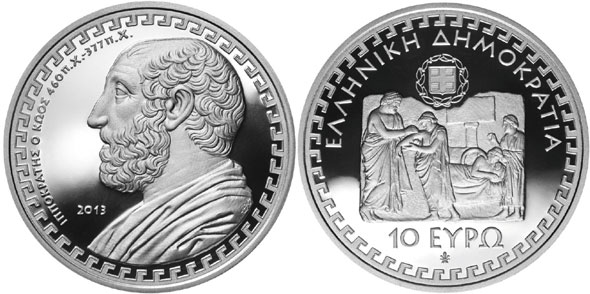 The Father of Medicine Honored on Gold and Silver Coins