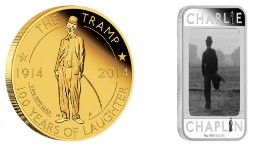 Charlie Chaplin on Gold and Silver Coins