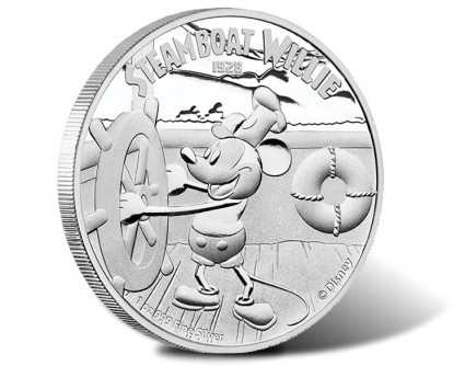 Mickey Mouse in Steamboat Willie on Silver Coin