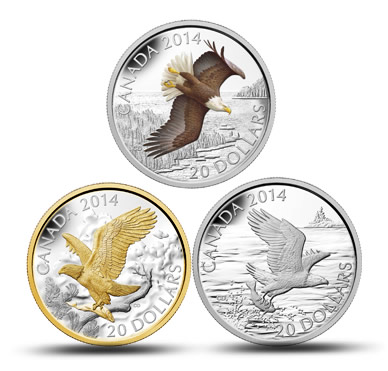 2014 $20 Bald Eagle Silver Coins in Canadian Mint Subscription