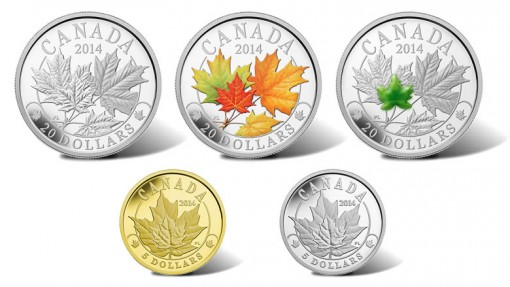 2014 Majestic Maple Leaves Coins in Silver, Gold and Platinum