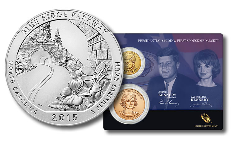 World Coins, Blue Ridge Parkway 5 Oz Coin and Kennedy Set